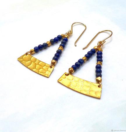 Серьги с лазуритом в стиле бохо золотые ручной работы на заказ