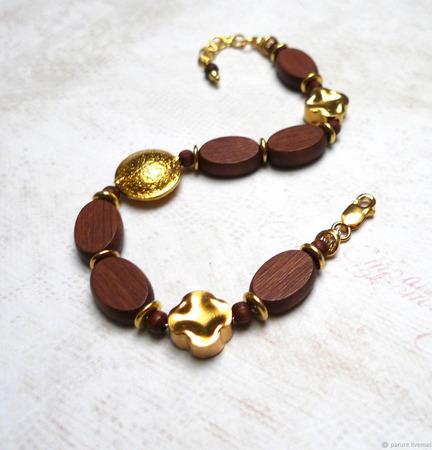Браслет в стиле бохо золотой с деревом ручной работы на заказ