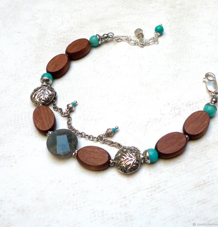 Браслет в стиле бохо с деревом, лабрадором и амазонитом серебряный ручной работы на заказ