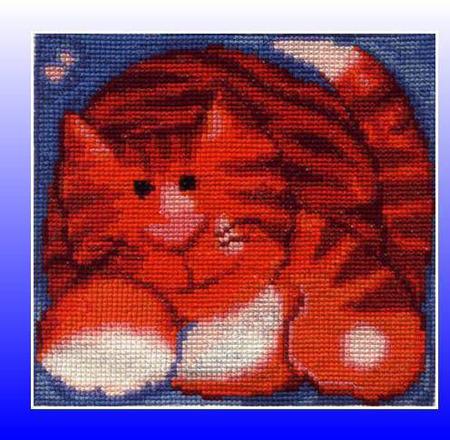 """Вышитая картина """"Рыжий кот"""" ручной работы на заказ"""