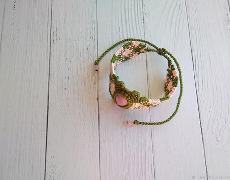 Браслет плетеный: макраме с окрашенным нефритом ручной работы на заказ