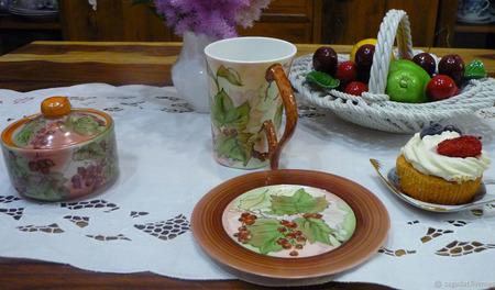 "Кружка и тарелка ""Летняя усадьба"" ручной работы на заказ"