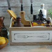 Дуб. Большой органайзер для кухни Где-то там Прованс.