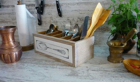"""Короб для столовых приборов """"Где-то там Прованс"""" ручной работы на заказ"""