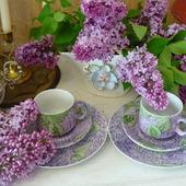 """Чайные (кофейные) трио """"Лиможская сирень"""""""