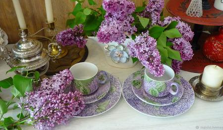 """Чайные (кофейные) трио """"Лиможская сирень"""" ручной работы на заказ"""