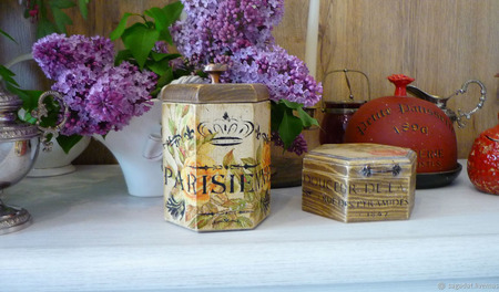 """Набор коробов для чая, кофе, трав """"Французский шоколад"""" ручной работы на заказ"""