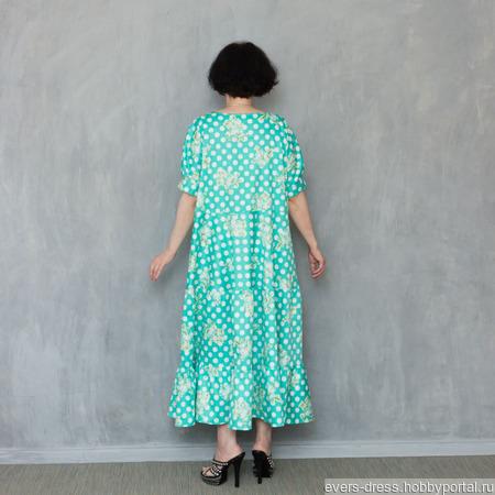 Платье ярусное длинное Мята, хлопок ручной работы на заказ