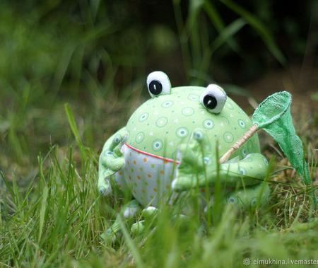 Лягушка из ткани фен шуй ручной работы на заказ