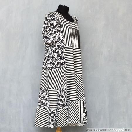 Платье летнее ярусное миди Полоска, хлопок ручной работы на заказ