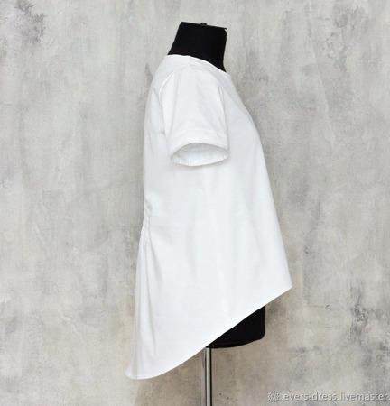 Блузка белая с люверсами, хлопок ручной работы на заказ