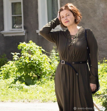 Платье миди со шнуровкой Джемма, хлопок ручной работы на заказ