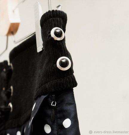 Юбка в горошек с поясом на шнуровке, хлопок ручной работы на заказ
