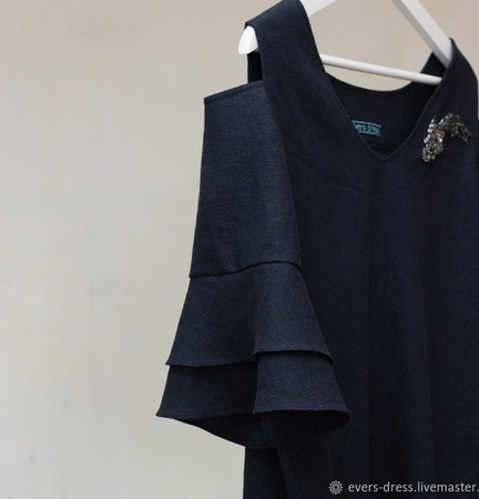Блузка с вышивкой Рыбка, лён ручной работы на заказ