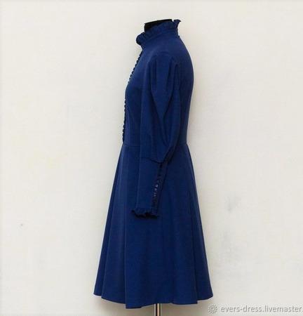 Платье с пышными рукавами Классический синий ручной работы на заказ