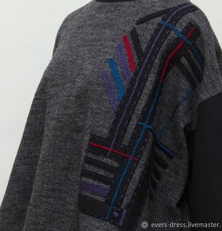 """Джемпер с вышивкой оверсайз """"Геометрия"""", шерсть ручной работы на заказ"""