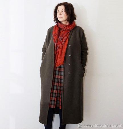 Пальто демисезонное оверсайз, лоден, шерсть ручной работы на заказ