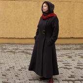 """Пальто демисезонное длинное с капюшоном """"Дебора"""", шерсть"""
