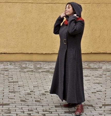 """Пальто демисезонное длинное с капюшоном """"Дебора"""", шерсть ручной работы на заказ"""