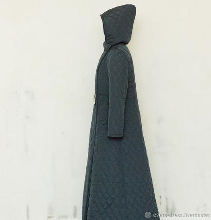 Пальто зимнее длинное, с капюшоном Северный ветер ручной работы на заказ