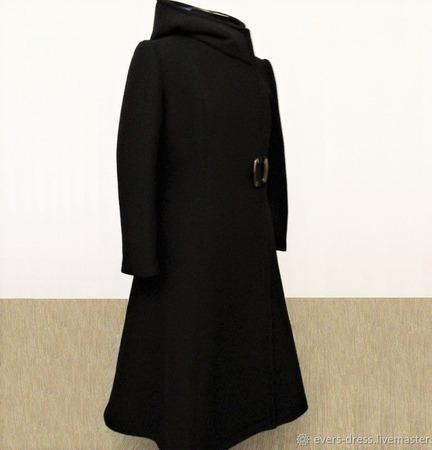 Пальто зимнее длинное, с широкой юбкой, шерсть ручной работы на заказ