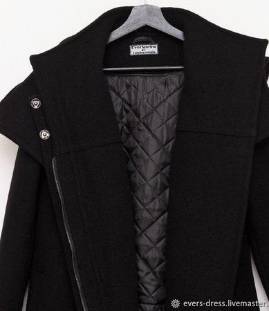 Пальто зимнее чёрное Асимметрия, шерсть ручной работы на заказ