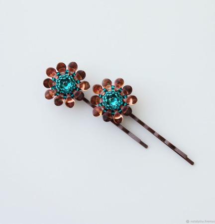 Заколка-невидимка для волос с кристаллом Swarovski (коричневый, рыжий) ручной работы на заказ