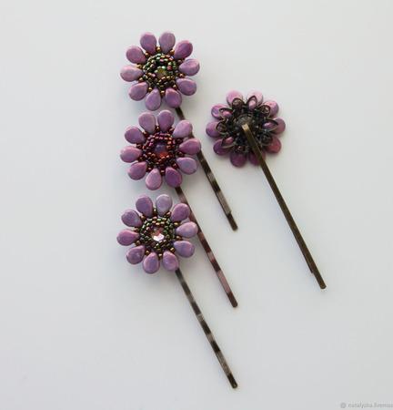 Заколка-невидимка для волос с кристаллом Swarovski (сиреневый) ручной работы на заказ
