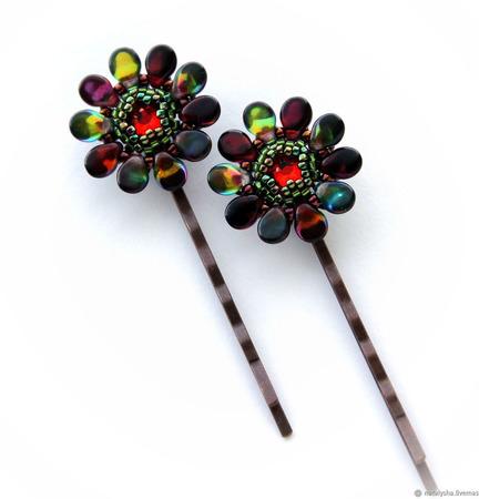 Заколка-невидимка для волос с кристаллом Swarovski (вариант 3) ручной работы на заказ