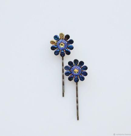 Заколка-невидимка для волос с кристаллом Swarovski (синий) ручной работы на заказ