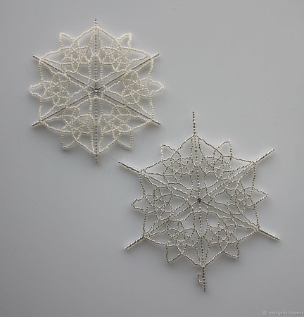 """Снежинки из бисера на каркасе """"Зимнее кружево"""" ручной работы на заказ"""