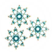 Звёздочки-снежинки из бусин и стекляруса цвета капри (3 шт.)