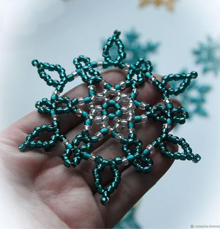 Снежинки из бисера цвета капри ручной работы на заказ