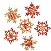 Золотисто-рыжие снежинки из бисера