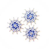 Серебристо-синие звёздочки-снежинки из бусин (набор из 3 шт.)