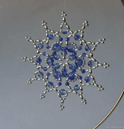 Серебристо-синие звёздочки-снежинки из бусин (набор из 3 шт.) ручной работы на заказ