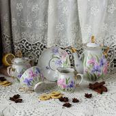 """Чайный сервиз с росписью """"Ирисовый вальс"""""""