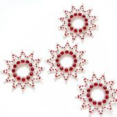 Серебристо-красные звёздочки-снежинки из бисера и бусин (4 шт.)