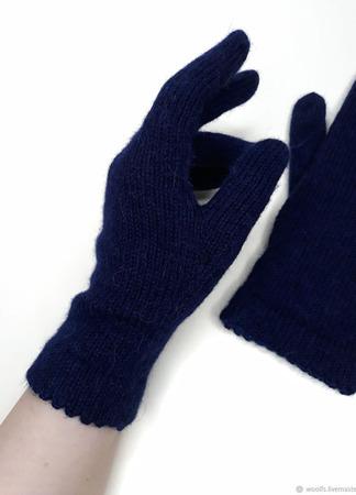 """Перчатки вязаные женские """"После Полуночи"""" ручной работы на заказ"""