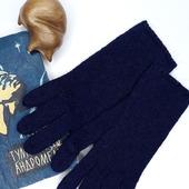 """Перчатки вязаные женские """"Полночь"""" из мериноса и альпака"""