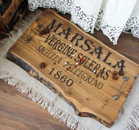 """Поднос из массива(слэба) карагача """"Легендарная Марсала"""" ручной работы на заказ"""