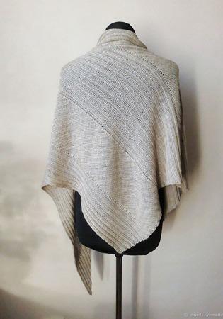 """Шаль платок вязаная """"Way"""" шаль из альпака с шелком ручной работы на заказ"""