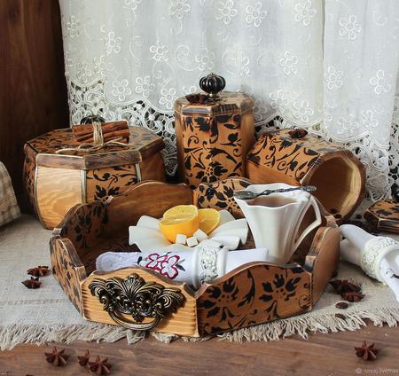 """Набор для кухни/поднос и баночки для сыпучих """"Amaretti"""" ручной работы на заказ"""