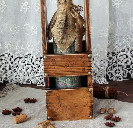 """Короб-корзина из дуба подарок на 23  """"Марсала"""" ручной работы на заказ"""