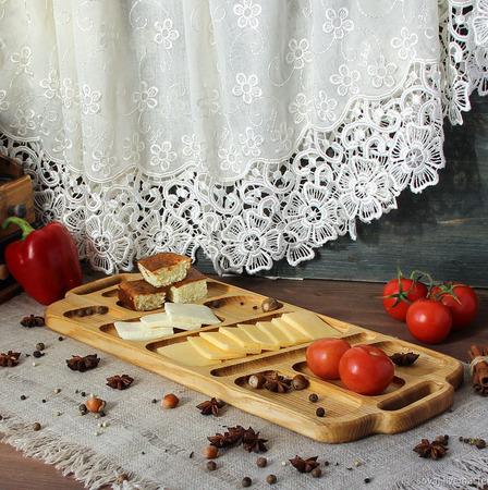 """Сервировочное блюдо/доска  из ясеня """"Пшеничное поле"""" ручной работы на заказ"""