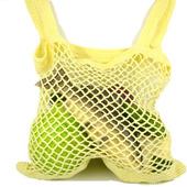 Вязаная льняная сумка-авоська жёлтая