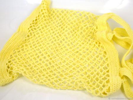 Вязаная льняная сумка-авоська жёлтая ручной работы на заказ