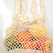Вязаная льняная сумка-авоська белая