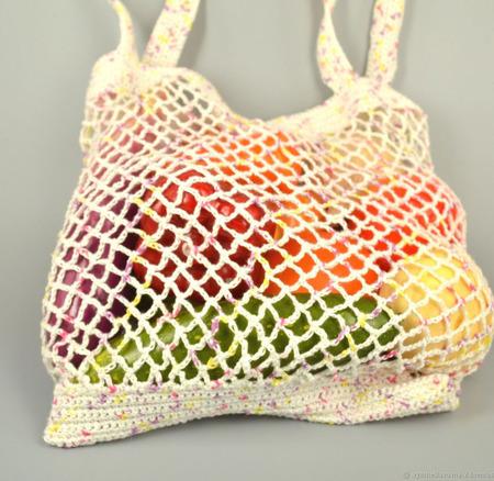 Вязаная льняная сумка-авоська белая ручной работы на заказ