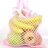 Сумка-авоська, связанная из хлопка, розовая